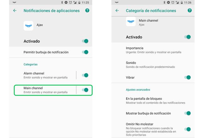 notificaciones aplicacion ajax
